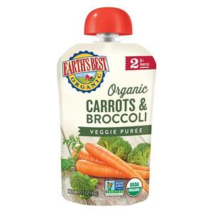 Earths Best Puree Pouch - Carrots & Broccoli