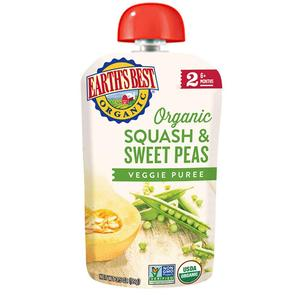 Earths Best Puree Pouch - Squash & Sweet Peas