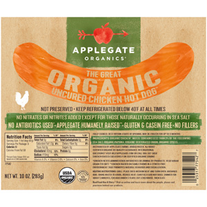 Applegate Farms Organic Chicken Hot Dogs