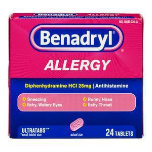 Benadryl Antihistamine Allergy Tabs